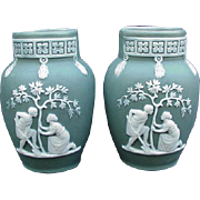 Pair of German Made Green Jasperware Vases
