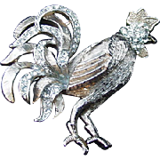 Vintage Rooster Brooch with Pave Rhinestone Accents