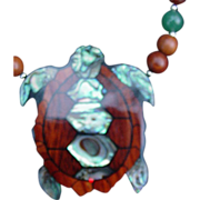 Turtle Medallion Necklace Decorated with Abalone Shell
