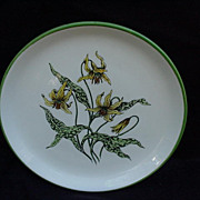 Set of Six Dessert Plates, Deland Studios, Hand-Colored Flowers
