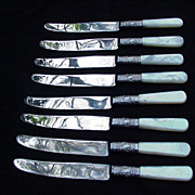 Eight Sheffield Fruit Knives with MOP Handles, England