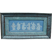 Framed Wedgwood Blue Jasperware Dancing Hours Plaque, Six Dancing Figures