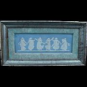 Framed Wedgwood Blue Jasperware Dancing Hours Plaque, Six Dancing Figures