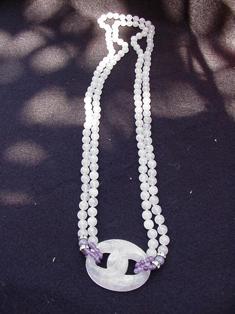 Rose Quartz Beaded Necklace with Amethyst Accents