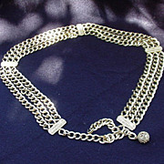 Goldtone Three-Strand Hip Belt, 1980s