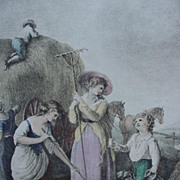 Hand-Colored Engraving by 18th C. British Artist, William Hamilton, Month of June