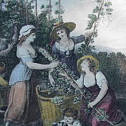 Hand-Colored Engraving by British Artist William Hamilton, Month Series, September