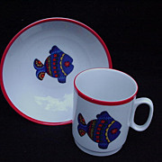 Kaiser Porcelain Child's Cup and Bowl with Fish Motif, West Germany