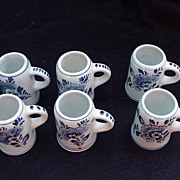 Six Delft Miniature Beer Steins with Blue Floral Decoration