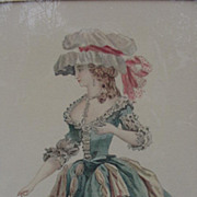 Hand-Colored Engraving of  French Woman in 18th C. Costume - Red Tag Sale Item