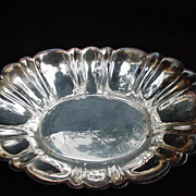 Vintage Silverplated Oval Tray with Flaring Sides, Scalloped Rim