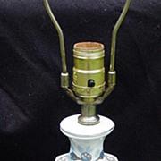 Vintage Baluster Style Oriental Lamp, Porcelain with Wood Base
