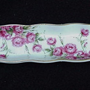 Lefton, Japan, Porcelain Mint Dish with Hand-Painted Pink Rose Sprays