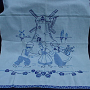 Vintage Needlework Towel with Appliques and Embroidery of Windmill and Dutch Boys and Girls - Red Tag Sale Item