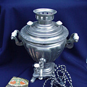 Vintage Russian Samovar  in Metal with Instruction Book