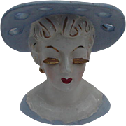 Irice, Japan Head Vase, Blue Hat, Blue Dress, Gold Accents