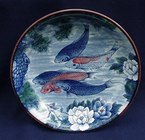 Japanese earthenware bowl with koi and flowers from for Koi viewing bowl