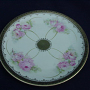 Rose and Gold Decorated Porcelain Plate