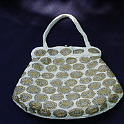 Vintage Beaded Handbag with Gold and Silver Beaded Ovals On White Background