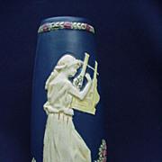 Weller, Blue Ware Vase, Maiden Playing an Instrument