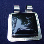 Sterling .925 Pendant, Square Black Stone Set in Square Frame