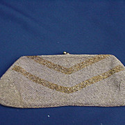 Vintage Hand-Made Belgian Clutch Handbag, Gold Beaded
