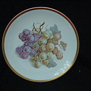 Porcelain Fruit Plate w Grape Clusters, Gold Rim, E&R Golden Crown