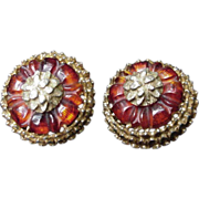 Stunning Pair of DeNicola Clip Earrings, Gold Tone, Amberina