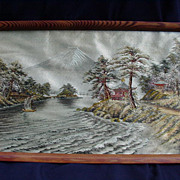 Vintage Japanese Embroidered Lake Scene with Mt. Fuji