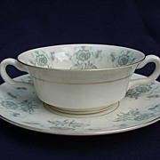 Castleton China Cream Soup Bowl w/ Underplate, Caprice