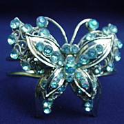 Vintage Silver-Tone Bracelet with Butterfly, Aqua-Colored Stones