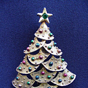 Vintage Goldtone Christmas Tree Pin Studded with Green and Red Balls