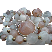 Kramer Vintage Necklace Set and Earrings, Shades of Pink with Goldtone  Beads