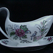 "Wedgwood Bone China Gravy  with Attached Underplate, ""Cathay"""