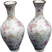 Pair of Vases Covered with Pink Flowers, Schumann, Germany