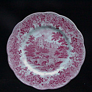Meakin English Ironstone Dinner Plate, Romantic England Red, Haddon Hall