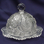 Early Am. Pressed Glass Butter Dish, Domed Lid and Underplate