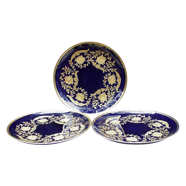Three Rosenthal Cobalt and Gold Decorative Plates, Germany