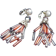 Vintage Chandelier Clip Earrings, Bugle Beads, Japan