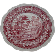 Spode Towers Dinner Plate, England, Dark Pink, Old Stamp