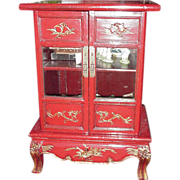 Vintage Asian Red Lacquer Cabinet