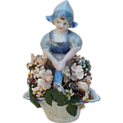 Vintage Porcelain Dutch Girl with Flower Basket