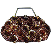 Stunning LeSoir Vintage Evening Bag with Copper-Colored Sequins and Beads