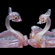 Pair of Vintage Murano Blown Glass Swan Salts