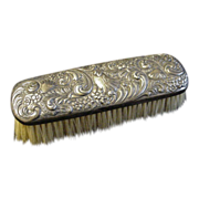 19th C. Repousse Silverplated Clothes Brush