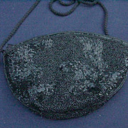 Vintage Black Beaded Magid Evening Purse