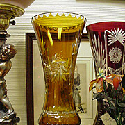 Tall Cut Glass Vase, Amber Cut to Clear