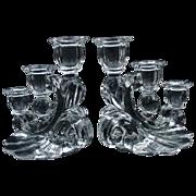 Pair of Elegant Glass Three-Light Candelabra
