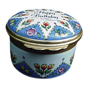 "Vintage Halcyon Days Enamel Box, ""Happy Birthday"", England"