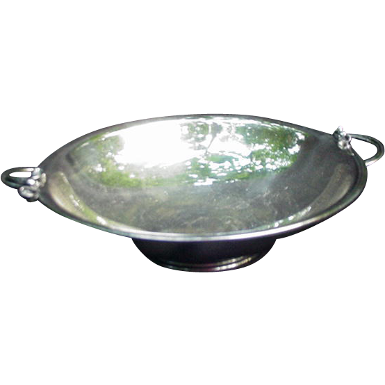 Silverplated Bowl With Stylized Floral Handles Denmark